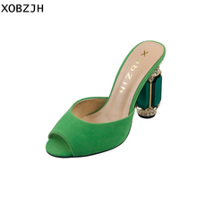 2019 Women Shoes Luxury Genuine Leather High Heels Ladies Fahion Wedding Party Shoes Woman Open Toe Green Sandals Plus Size