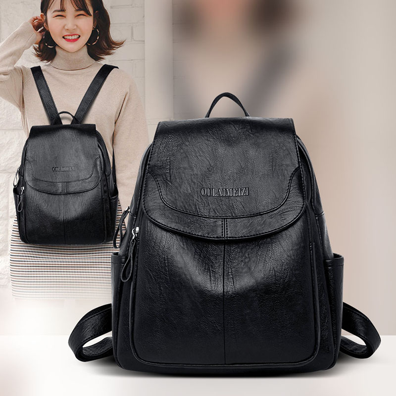 Backpack Women Fashion 2020 Pu Leather Backpack For Women Zipper Pocket Ladies Bag Anti Theif Women Bag