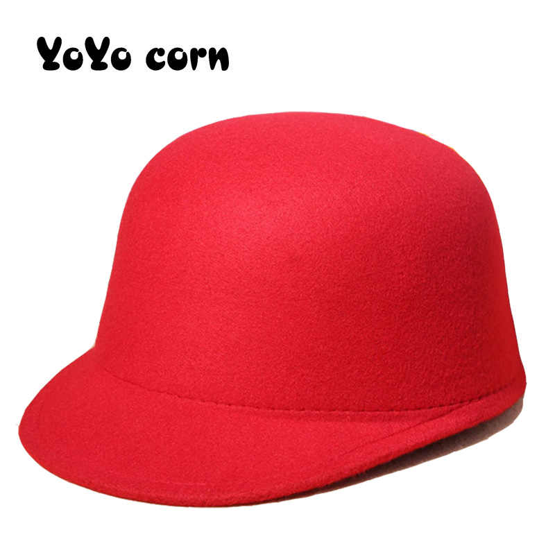 YOYOCORN kış sıcak yün keçe şapkalar kadın yün Fedoras şapka Retro atlı şövalye kapaklar kadın tavşan kürk topu beyzbol şapkası