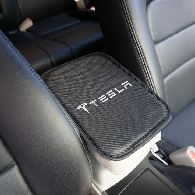 Car Armrest Pad Covers Auto Armrests Storage Protection Cushion for Tesla model 3 model X Y style Roadster Accessories 1