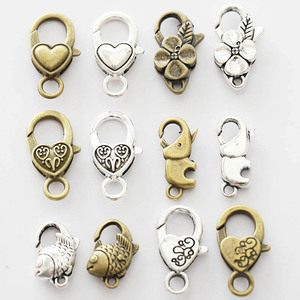 10pcs Antique Bronze Alloy Love Heart Lobster Clasp Hooks Fit For DIY Making Necklace Bracelet Jewelry Chains Connector Findings