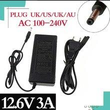 12.6V 3A li ion carregador de bateria de lítio de carregamento Rápido 5.5*2.1mmPlug para 3 série 10.8V 11.1V 12v li ion polímero de lítio batterry