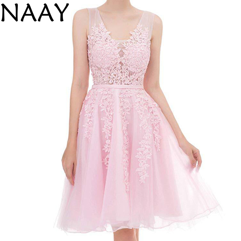 NAAY  Straps Short Prom Dress Sleeveless Appliques Ball Gown Dress Plus Size Cheap Party Dresses  Vestidos Largos De Fiesta