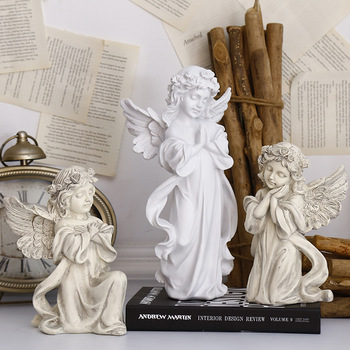 Resin Beautiful Girl Angel Miniature Statue Ornament Cute Sculpture Modern Art Sketch Model Home Decoration Accessories Figurine 1