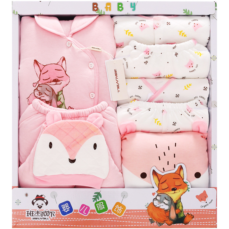 Autumn And Winter Clothes For Babies Newborns Gift Box Thick Warm Primary BABY'S FIRST Month Baby Cotton-padded Clothes Set Mate