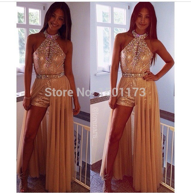 free shipping 2018 new design high neck beading short formal custom special occasion sexy Prom party gown bridesmaid dresses