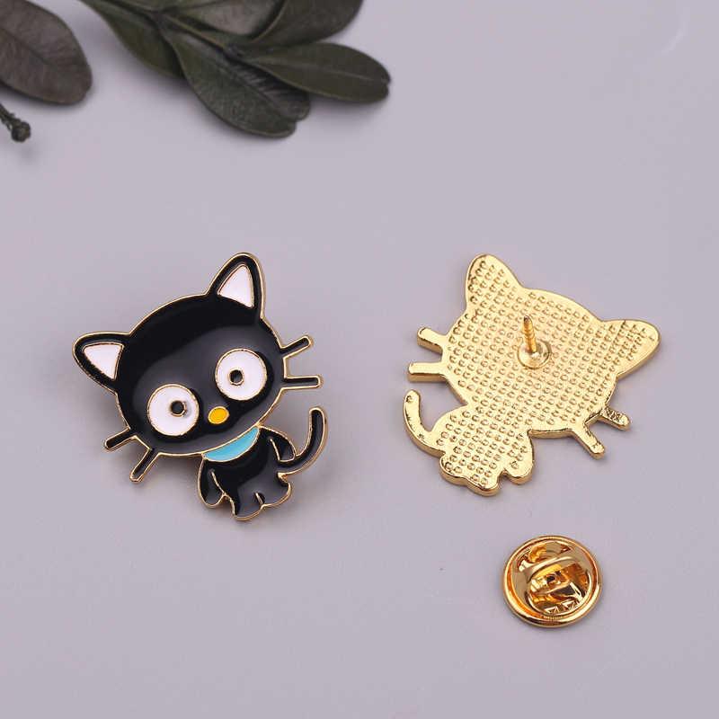 Kartun Hewan Hitam Putih Kucing Enamel Pins Kotak Kucing Kucing Lencana Bros Tas Pakaian Kerah Pin Kartun Hewan Perhiasan hadiah