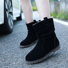 Womens Flock Boot Shoes New Plushing Winter Europe Fashion Ladies Plus Size 34-42 43 in Large