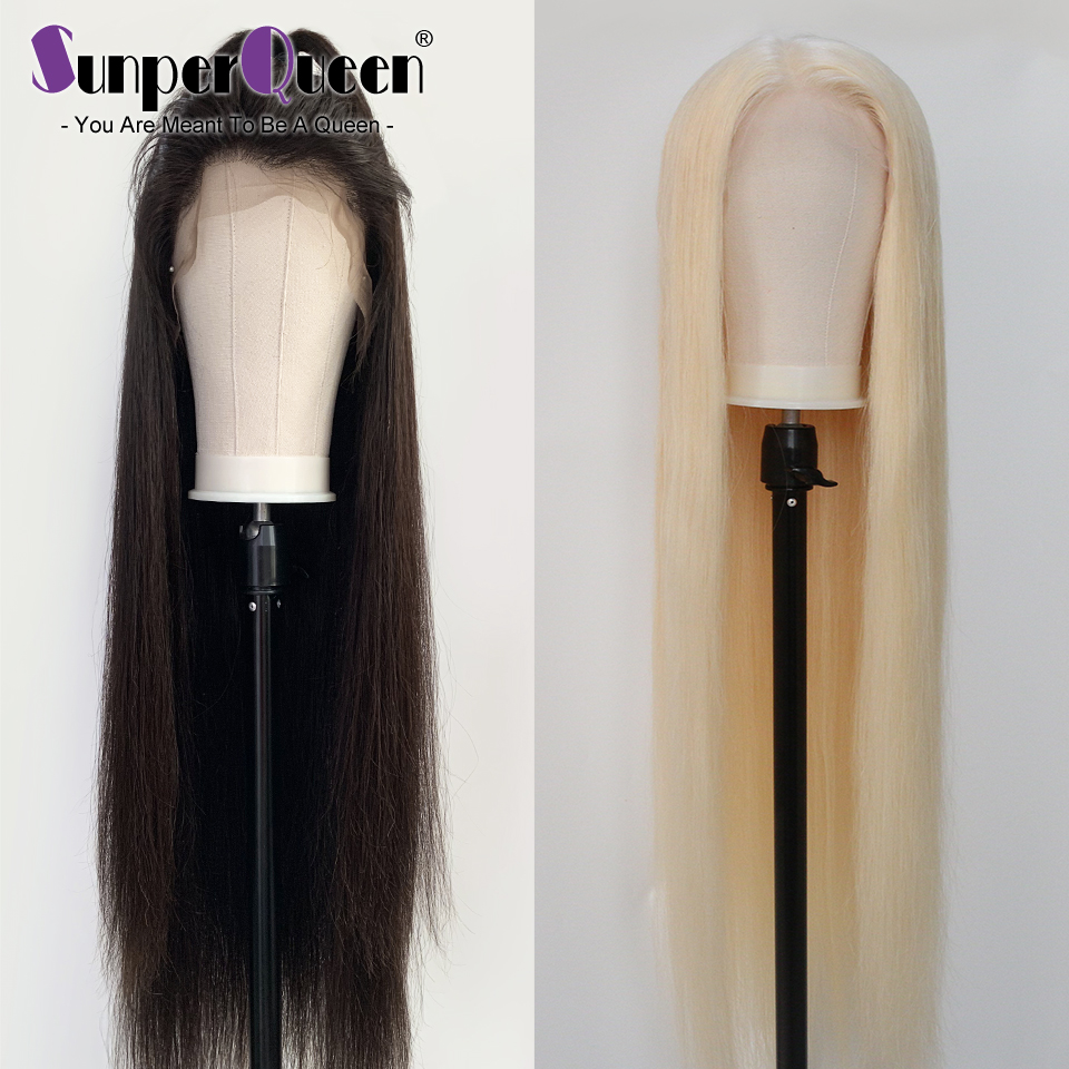 Sunper Queen 12-38 40 Inch Full Lace Wig Human Hair Wigs Transparent Lace Human Wigs Straight 613 Blonde Full Lace Wig image