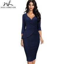 Office-Dresses Peplum Formal-Fitted Business Spring Women Elegant Vintage Solid-Color