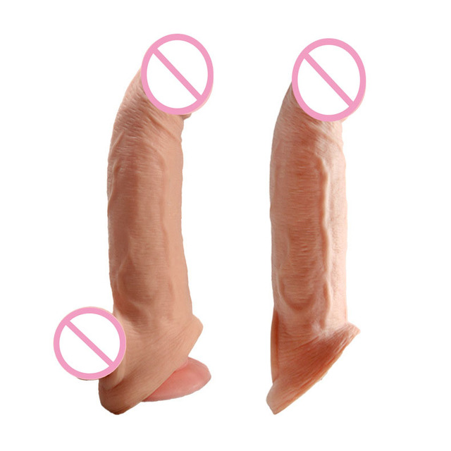Soft Silicone Penis Extender Reusable Condoms Penis Sleeve Dick Cover Dildo Enlargement Male Cock Ring Adult Sex Toys for Men 1