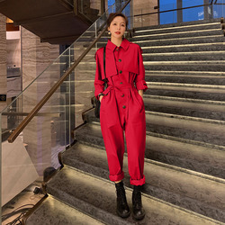 Primavera otoño mujer manga larga mono mujer Streetwear Hip Hop de talla grande monos pantalones Cargo conjuntos