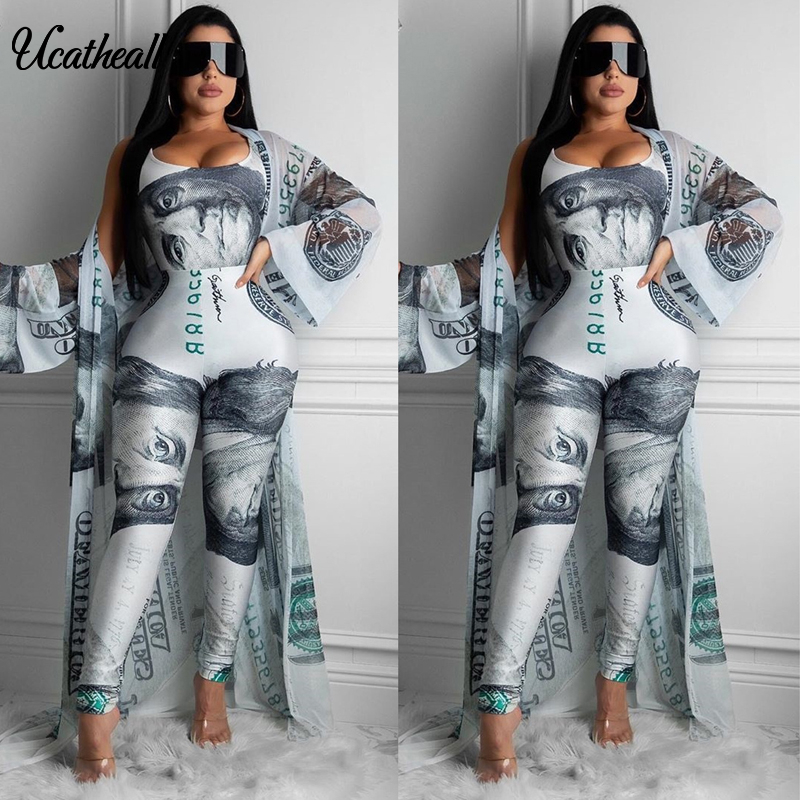 Women's Casual Dollars Printed Cardigan 2 Pieces Set Suit Trumpet Sleeve Wiped Kimono Loose +bodysuit +Trousers Two Piece  Suits