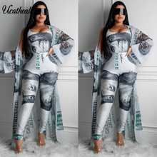Cardigan Suit Trousers Two-Piece-Suits Casual Women's Kimono Trumpet-Sleeve Wiped Dollars