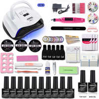 80/54W Nail Set UV LED Lamp With 10pcs Nail Gel Polish Kit Soak Off Manicure Tools Set electric Nail drill For Nail Art Tools