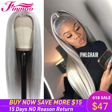 Perruque Lace Front Wig brésilienne naturelle lisse et transparente, cheveux gris ombré, couleur argent, perruque Closure Wig pour femmes noires