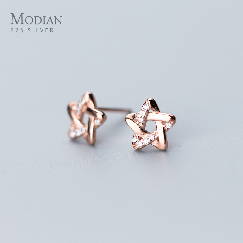 Modian Elegant Cute Anti-allergy Real 925 Sterling Silver Clear CZ Star Jewelry Trendy Luxury Stud Earrings For Women Accessorie