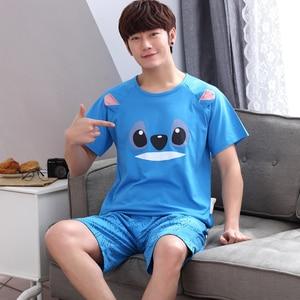 Image 4 - Yidanna cartoon short sleeve pajamas set for men minions sleepwear plus size pyjamas cotton nightwear O neck homedress in summer