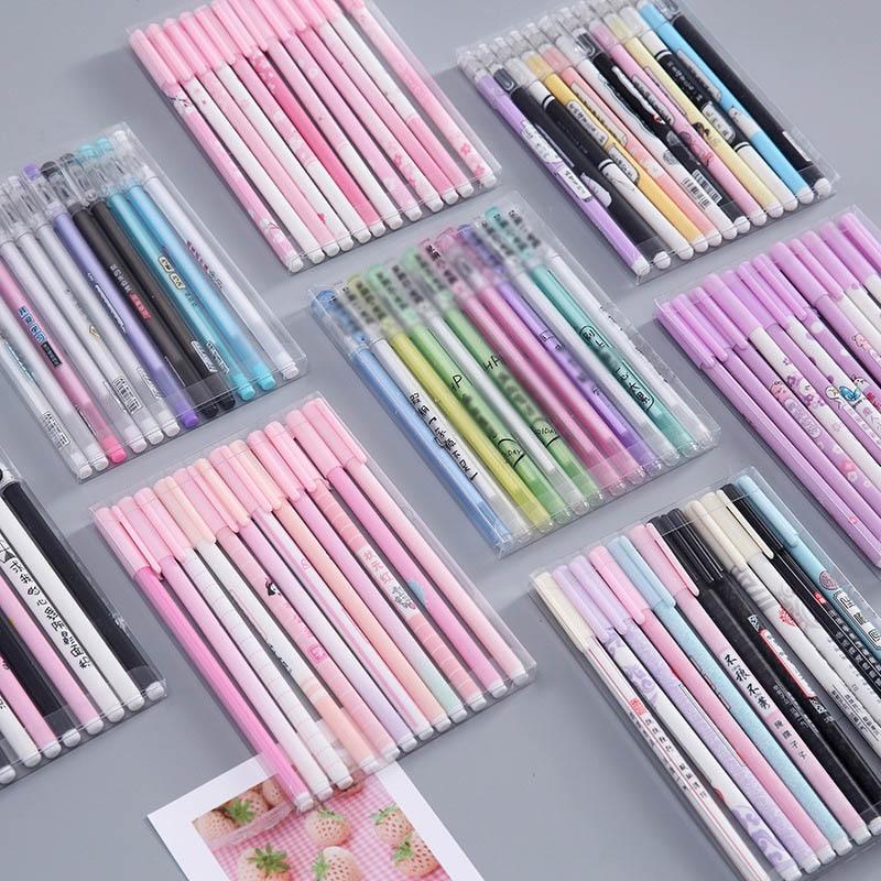 12Pcs Cute Cherry Pen Kawaii Neutral Pens Starry Sky Gel Pens For Girls Gift School Office Supplies Novelty Stationery
