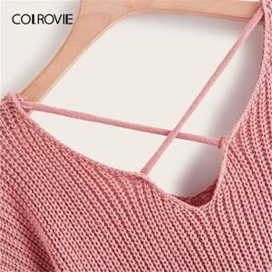 Image 3 - COLROVIE Plus Pearl zroszony na krzyż skręt sweter kobiet 2019 jesień elegancka różowy V neck swetry z długim rękawem na co dzień swetry