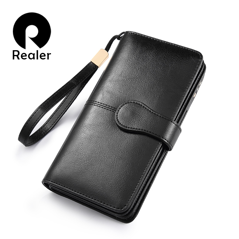 REALER women wallet Split leather long wallet with phone/coin/card pocket zippers for ladies Purses with short strap for female