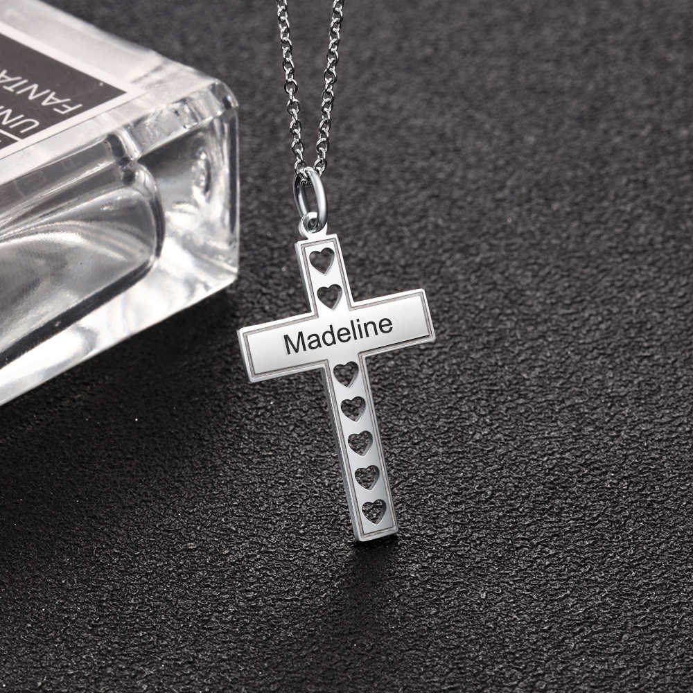 Personalized Gift Custom Name Cross Necklace with Hollow Out Heart Stainless Steel Engraved Pendant Jewelry (JewelOra NE103253)