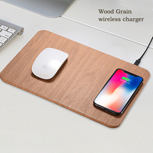 Wood grain Mousepad charging  2 in1 10W Fast Qi Wireless Charging For Iphone X Samsung Galaxy S6 S7 Note 8 Mouse Pad Mat