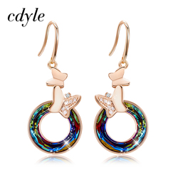 Cdyle 2019 Women's Party Earring Jewelry Vintage Romantic Gold Butterfly Drop Earrings with Crystal Round Shaped