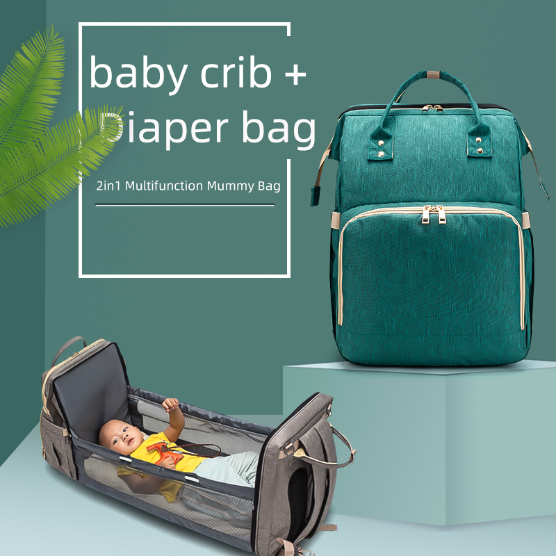 2in1 Multifunctional Diaper Bag Backpack Portable Portable Large Capacity Shoulder Mommy Folding Crib Bags Waterproof Stylish