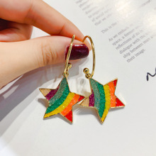 S925 rainbow earrings candy character personality network red - colored ornaments in europe and the exaggerated earring