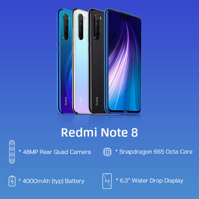 "In Stock Global ROM Xiaomi Redmi Note 8 4GB 64GB 48MP Quad Camera Smartphone Snapdragon 665 Octa Core 6.3"" FHD Screen 4000mAh 1"