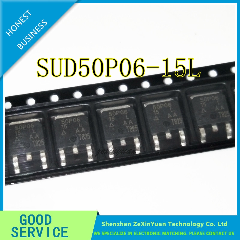 50PCS SUD50P06-15L 50P06 50A 60V P Channel Patch TO-252 MOSFET