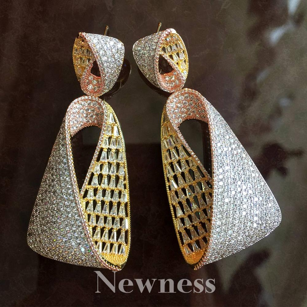 Newness Water Drop Luxury Cubic Zirconia African Nigerian Wedding jewelry for Women Bridal Earrings Jewelry Gift