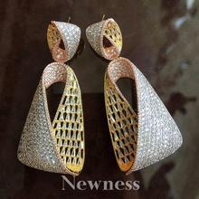 Newness Water Drop Luxury Cubic Zirconia African Nigerian Wedding jewelry for Women Bridal Earrings Jewelry Gift