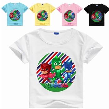 2019 New Pj Masks Round Neck Color Cartoon Printing Figures Anime Pattern Children's T-shirt Short-sleeved Sport Shirt Men 2S35