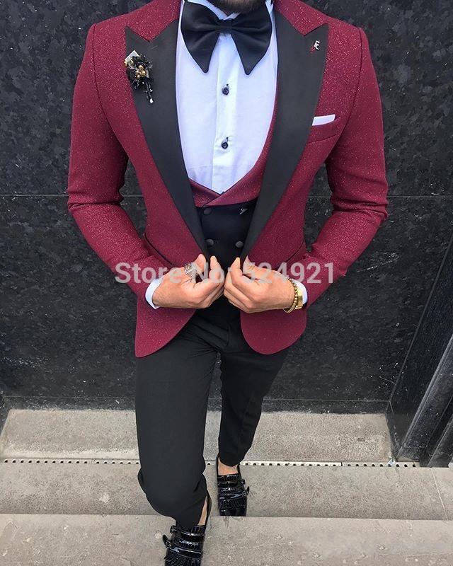 Groomsmen Dark Red With Black Groom Tuxedos Peak Lapel Men Suits 3 Pieces Wedding Best Man ( Jacket+Pants+Vest+Tie ) C801