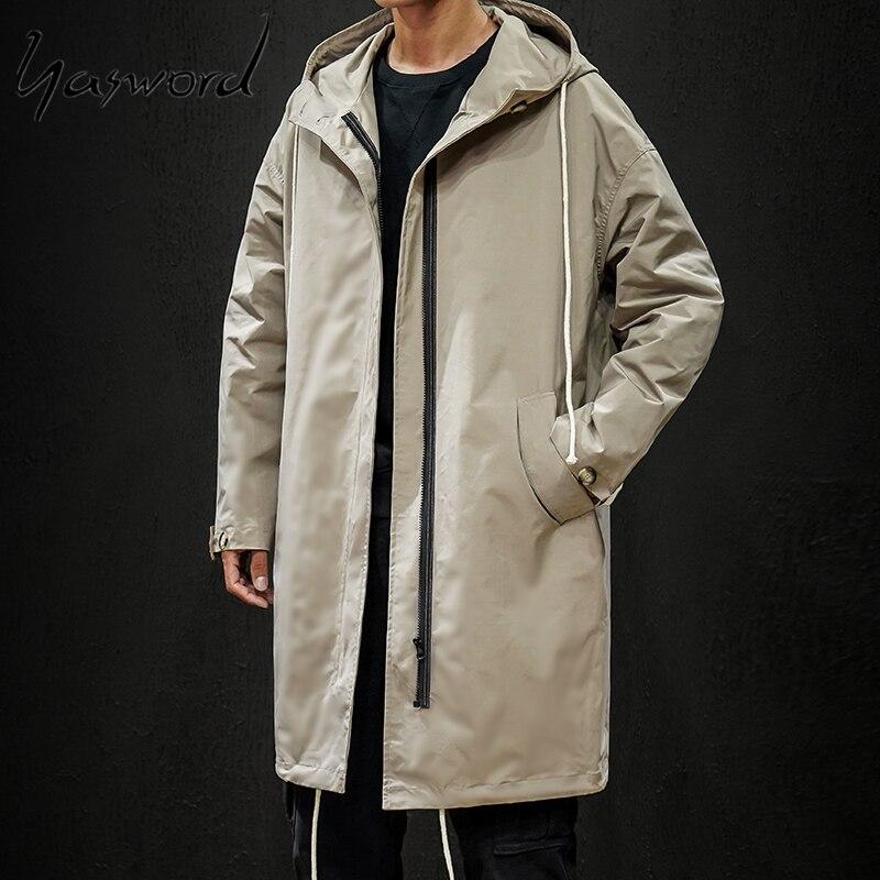 Yasword Trench Coat Men Windbreaker Jacket Military Multi Pockets Man Coats Turtleneck Casual Outwear Male Winter Autumn