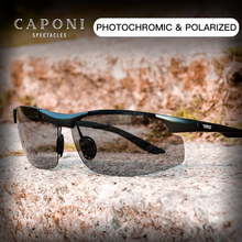 CAPONI Sports Sunglasses For Men Protect Eyes Polarized Shades For Fishing Photochromic Ultralight Driver's Sun Glasses BS8033