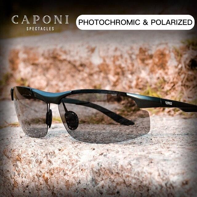 CAPONI sportowe okulary przeciwsłoneczne dla mężczyzn do ochrony oczu spolaryzowane odcienie do wędkowania fotochromowe ultralekkie okulary przeciwsłoneczne kierowcy BS8033