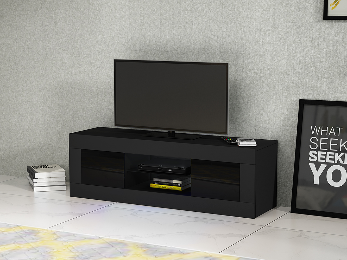 Modern 125cm Length Living Room Furniture TV 2 Cabinets And High Gloss Doorshigh TV Stand Sideboard Matt  Fast Delivery
