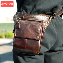 Aimeison Genuine Leather leg bag in Waist Pack motorcycle Fanny Pack Belt Bags Phone Pouch Travel Male Small leg bag tactical
