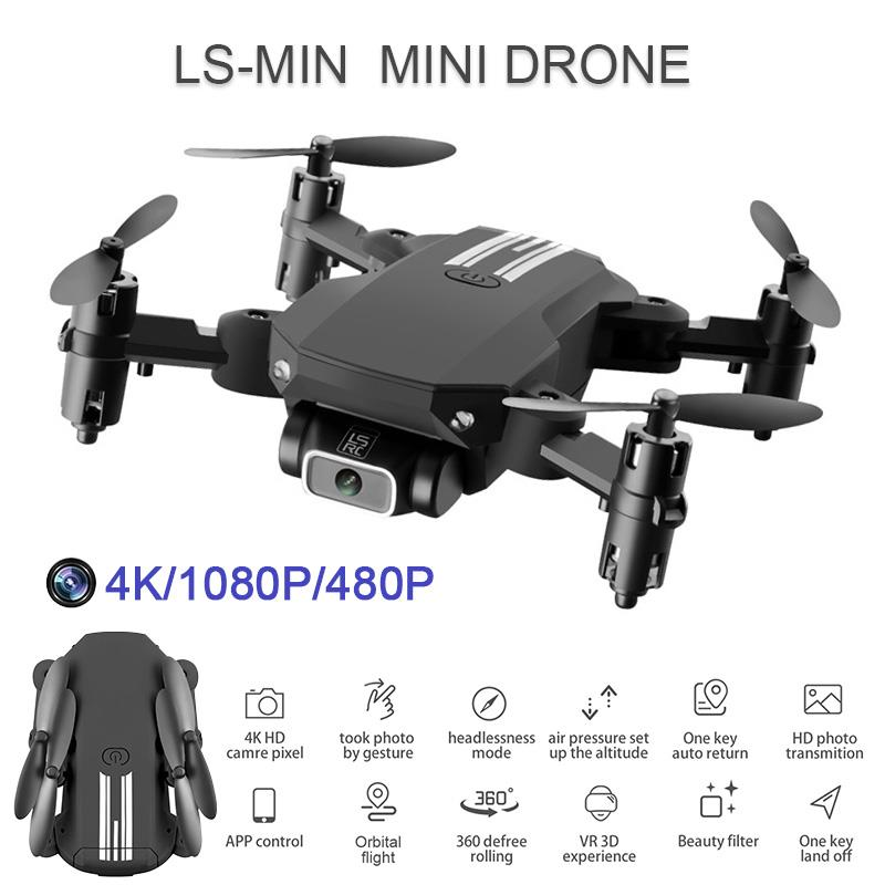 LS-MIN New Mini Drone WiFi FPV Altitude Hold Foldable 6-Axis Gyro RC Quadcopter with 480P 1080P 4K HD Camera RC Dron Toy