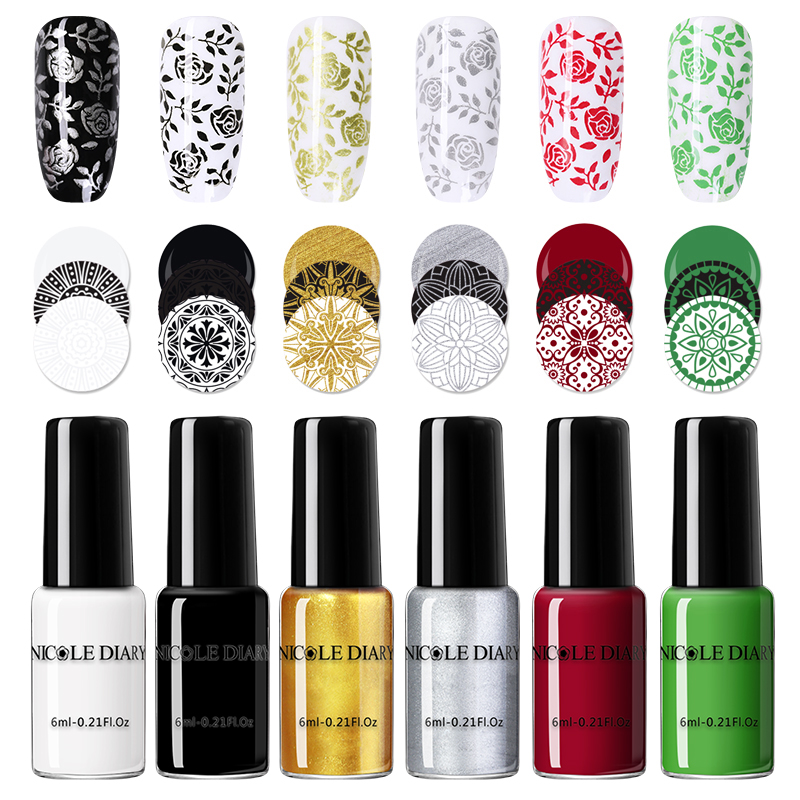 NICOLE DAIRY Black White Nail Stamping Polish Varnish Gold Silver Nail Art Plate Stamp Oil White Night Stamping Series