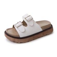 цены Women Summer Slippers Outdoor Platform Shoes Buckle Slides Flat Heel Beach Slippers Fashion Flip Flop Sandals Fashion Casual