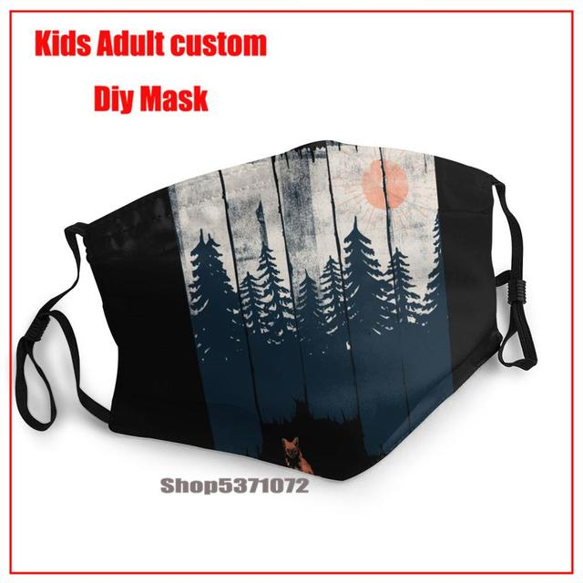 Thin Face Mask Black Anti-Dust Cotton A Fox In The Wild Printing Mouth Mask Kpop teeth mouth Muffle Face Mouth Masks Women Men