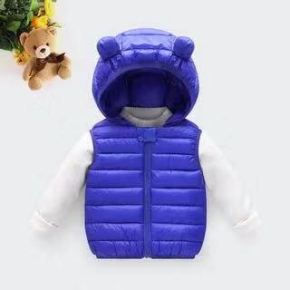 Одежда для маленьких девочек; зимнее Детское пальто; светильник с капюшоном; однотонная хлопковая верхняя одежда; жилет для малышей; одежда для маленьких мальчиков - Цвет: Небесно-голубой