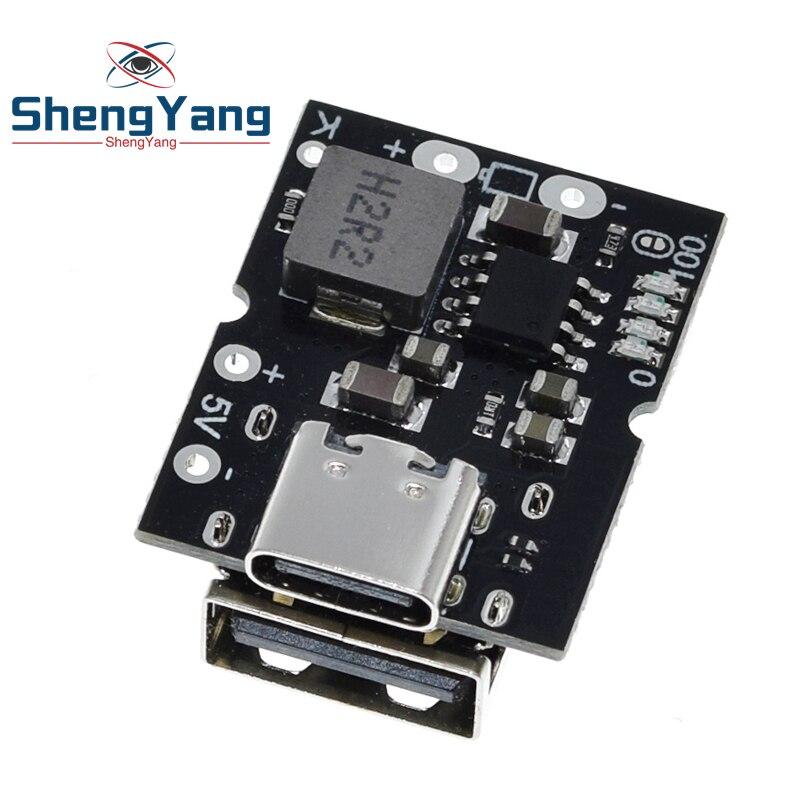 Typ-C USB 5V 2A-Boost-Converter Step-Up Power Module Lithium-Batterie Lade Schutz Bord LED display USB Für DIY Ladegerät