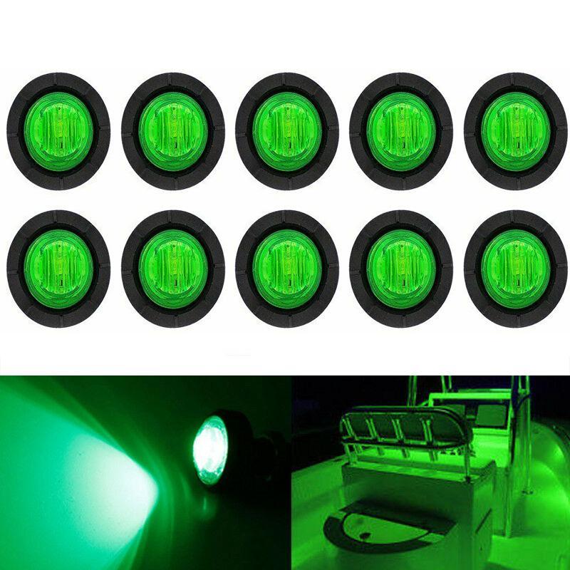 10x verde conduziu a luz impermeável do barco 12v deck armazenamento caiaque arco reboque bulbos