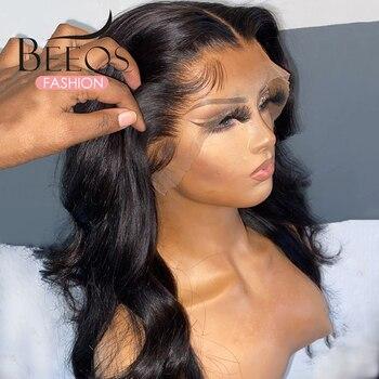 Ciała koronkowa fala peruka Front naturalną linią włosów 13x6 koronki przodu włosów ludzkich peruk brazylijski wstępnie oskubane woda fala naturalny czarny kolor