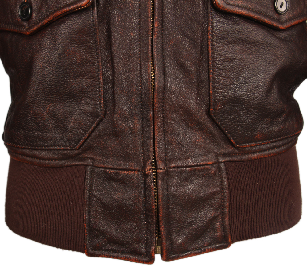 H61b9befedaa743fabaee180e2c5270a91 Vintage Distressed Men Leather Jacket Quilted Fur Collar 100% Calfskin Flight Jacket Men's Leather Jacket Man Winter Coat M253